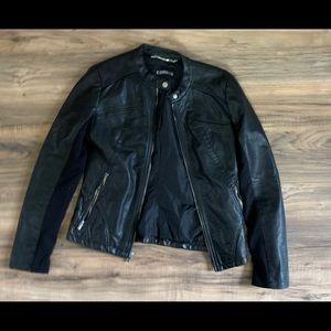 Express black vegan leather zipper sleeve jacket